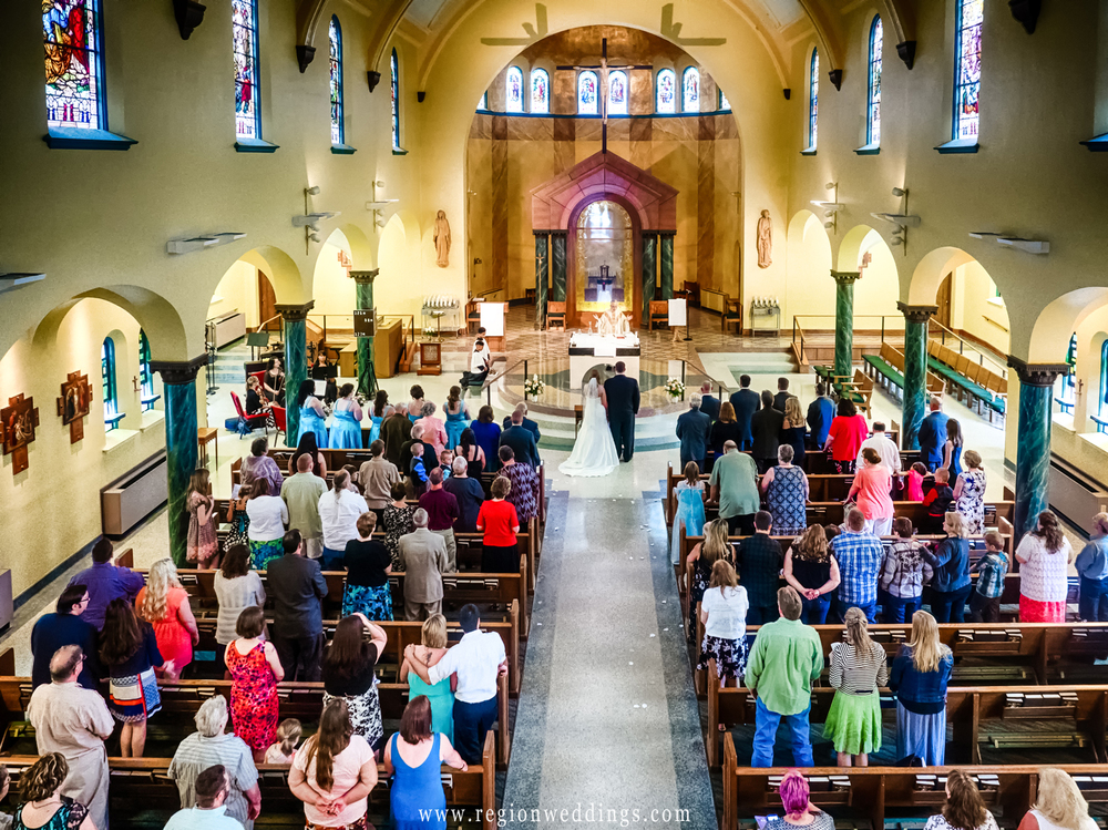Wedding ceremony at St. Peter's Catholic Church in LaPorte, Indiana.