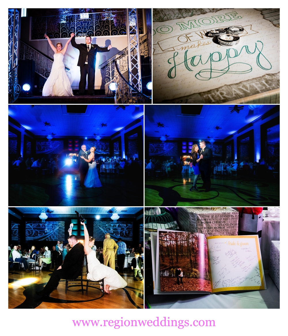 A photo collage of a wedding reception at The Allure.