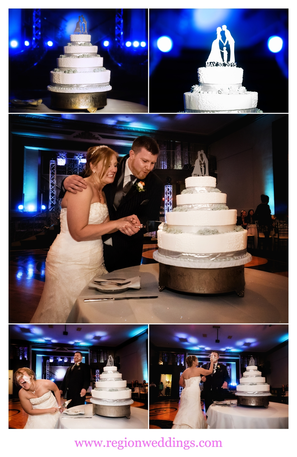 The bride and groom cut the cake at The Allure during their wedding reception.