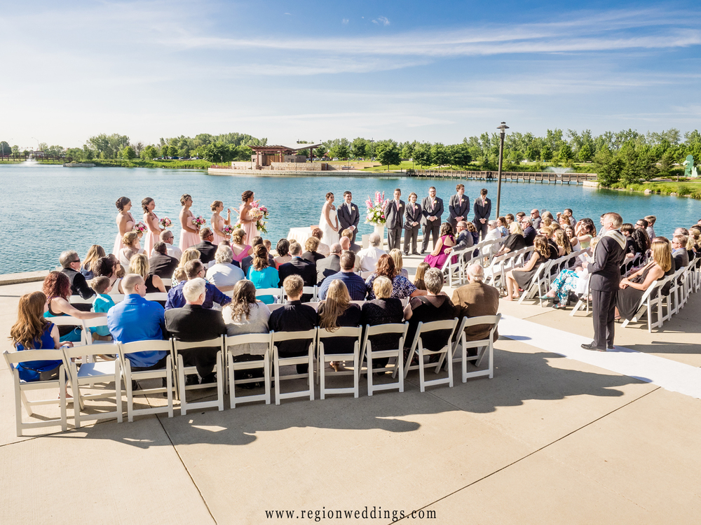 Outdoor wedding ceremony at Centennial Park.