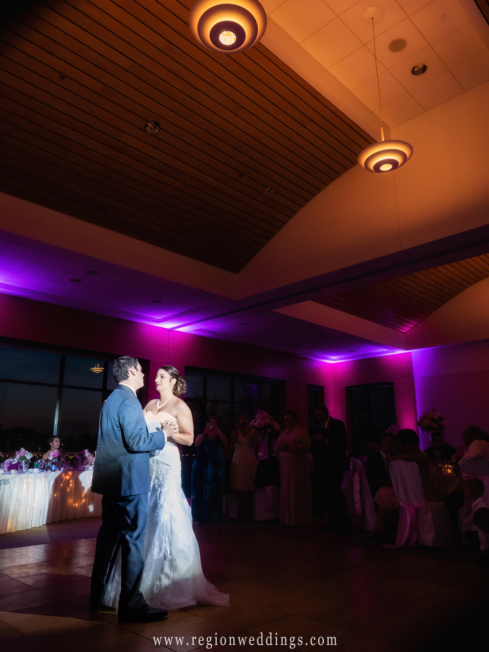 First dance for the bride and groom at the Centennial Park Clubhouse.