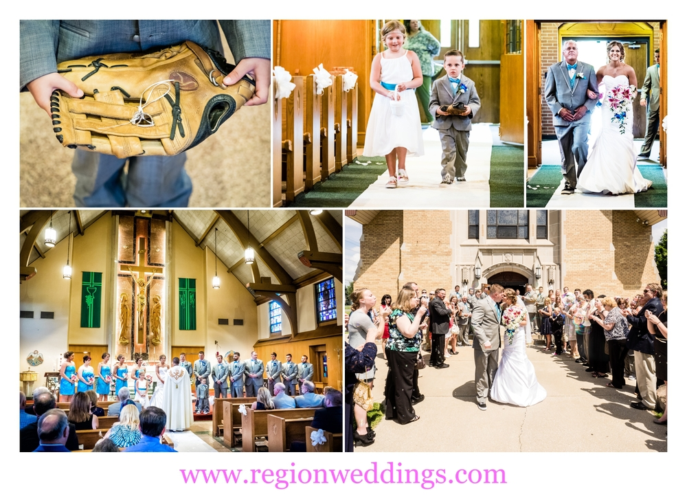 Wedding ceremony at Our Lady of Sorrows Catholic Church.