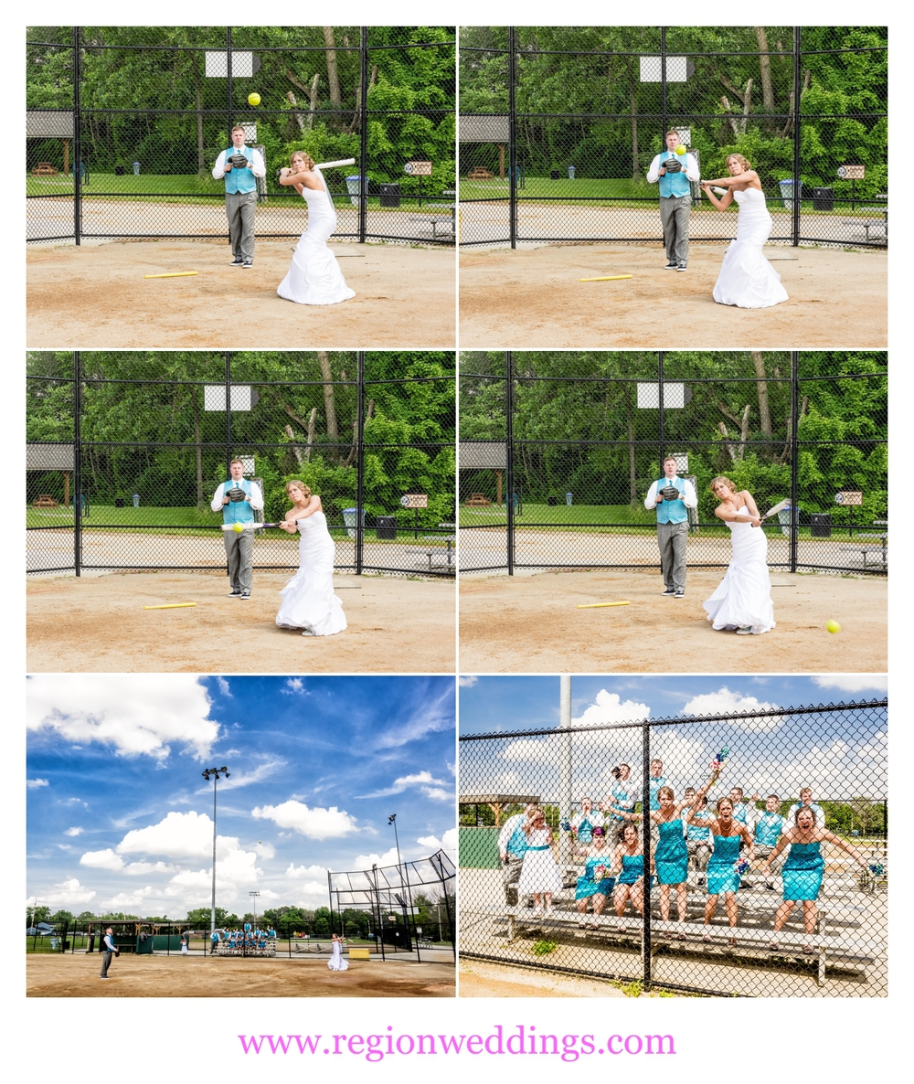 A baseball game with the wedding party.