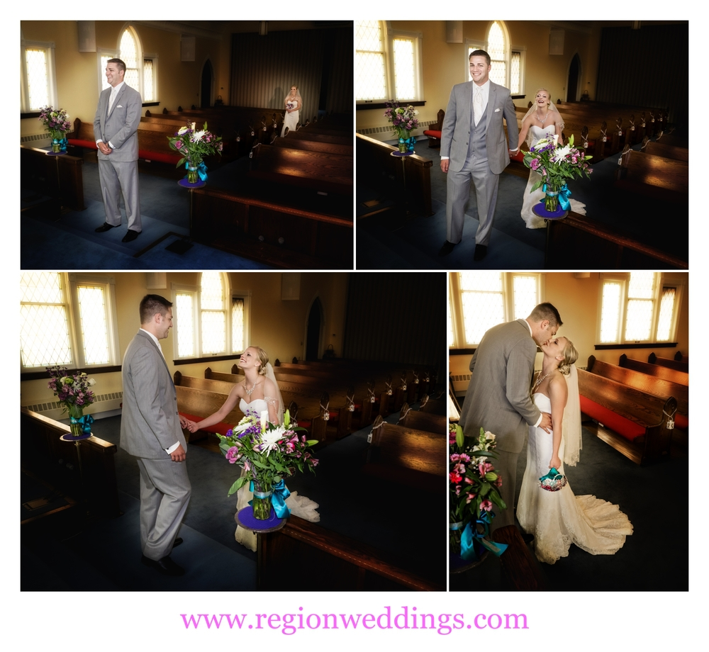 First look for the bride and groom at United Methodist Church in Hebron, Indiana.