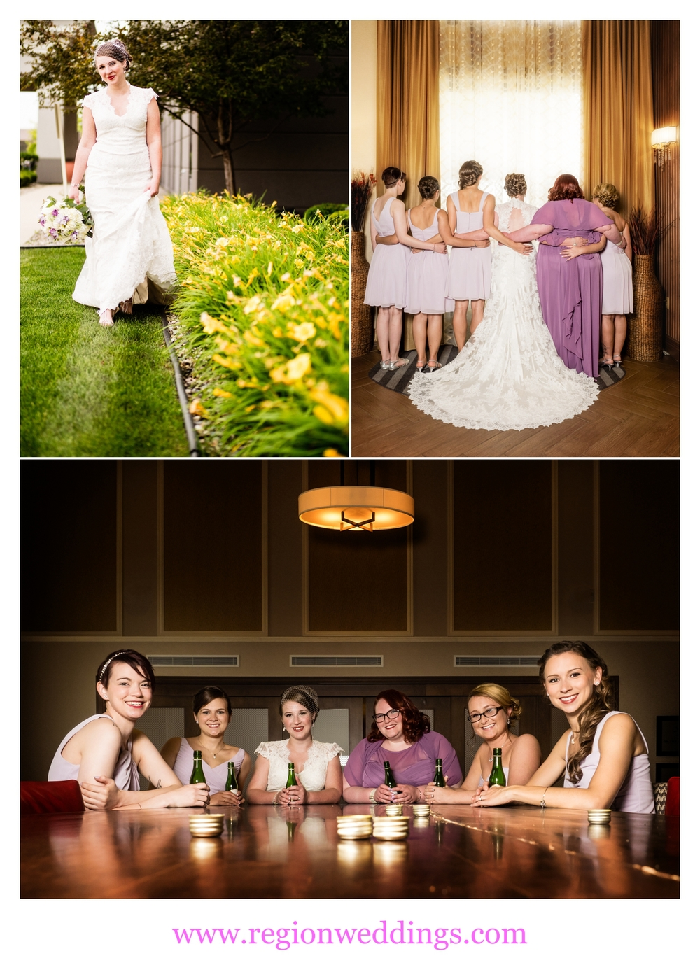 Bridesmaids wedding photos in Munster, Indiana.