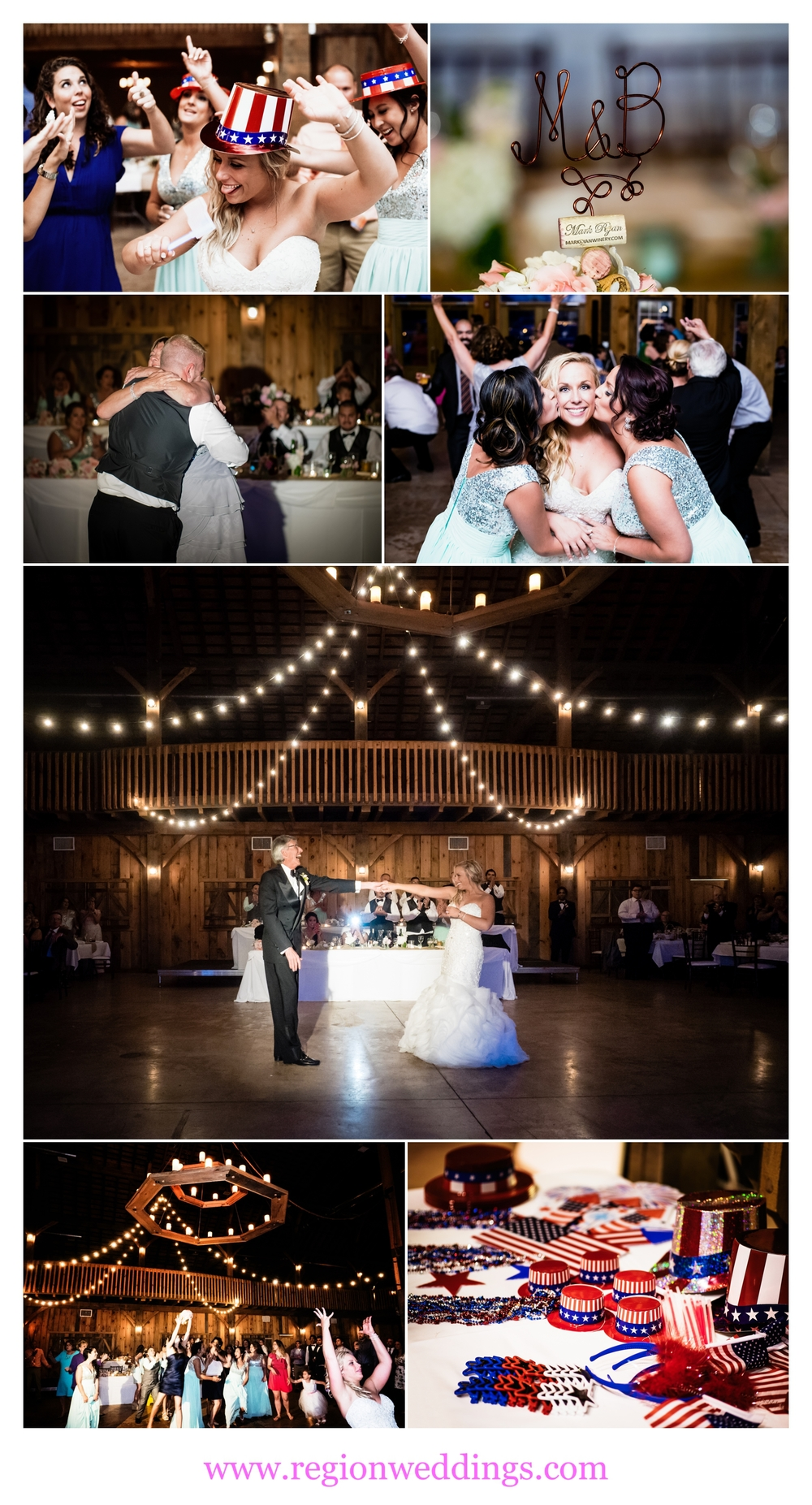 A barn wedding at County Line Orchard in Hobart, Indiana.
