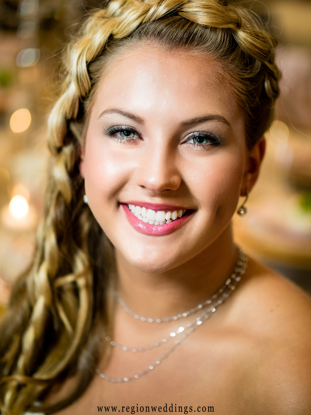 Beautiful bride with braided hair.