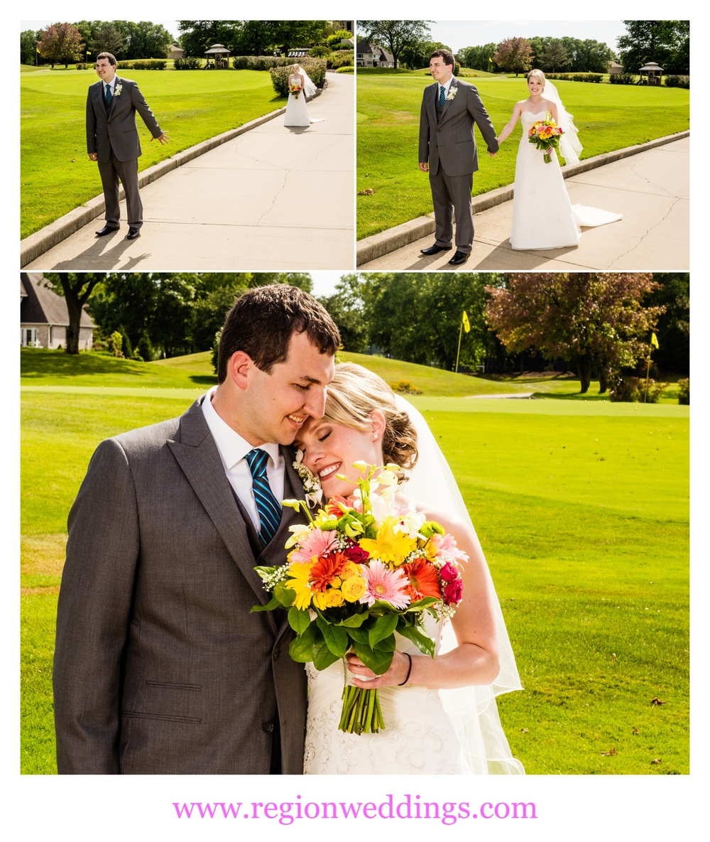 First look for the bride and groom at Sand Creek Golf Course