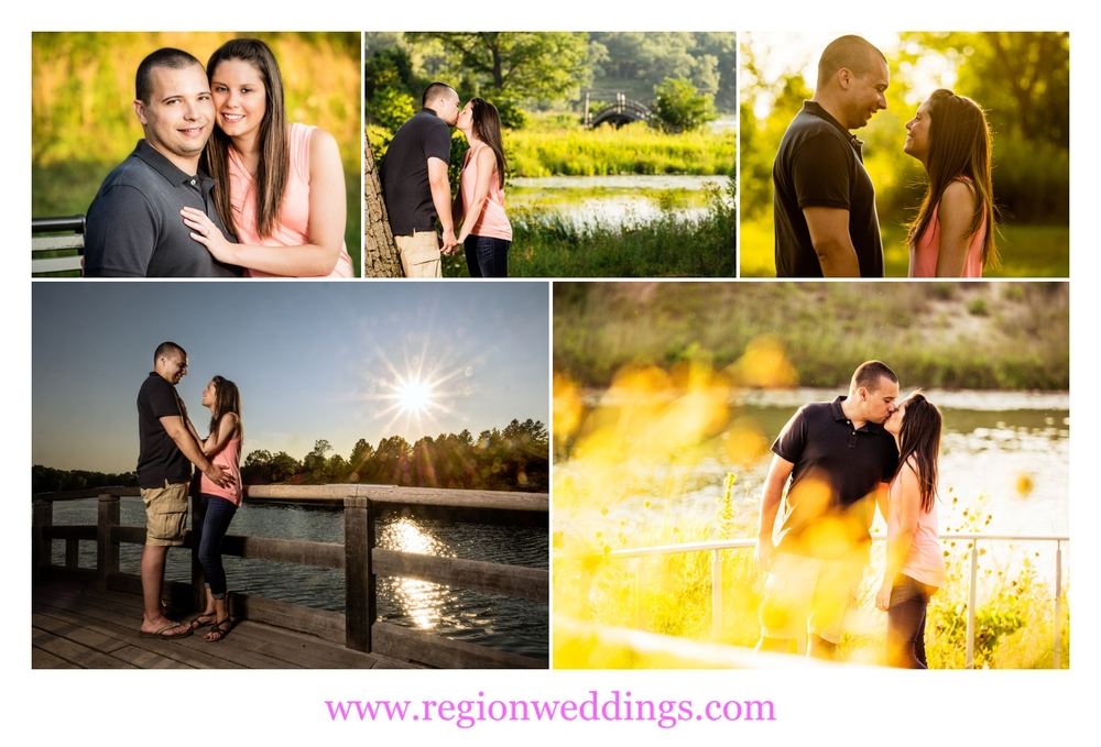 Engagement photos at the lagoon of Marquette Park Pavilion.