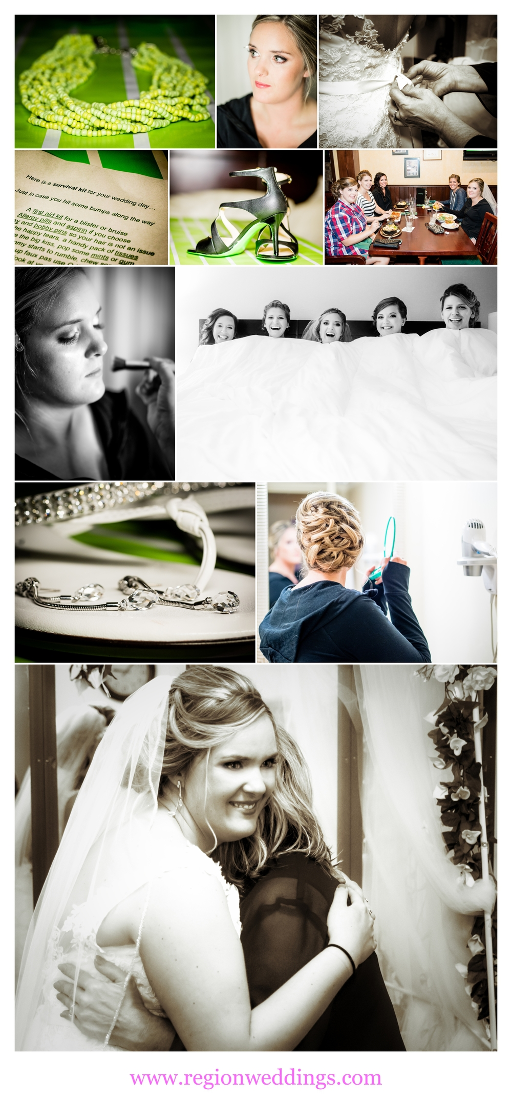 Bridal prep at Radisson Hotel.