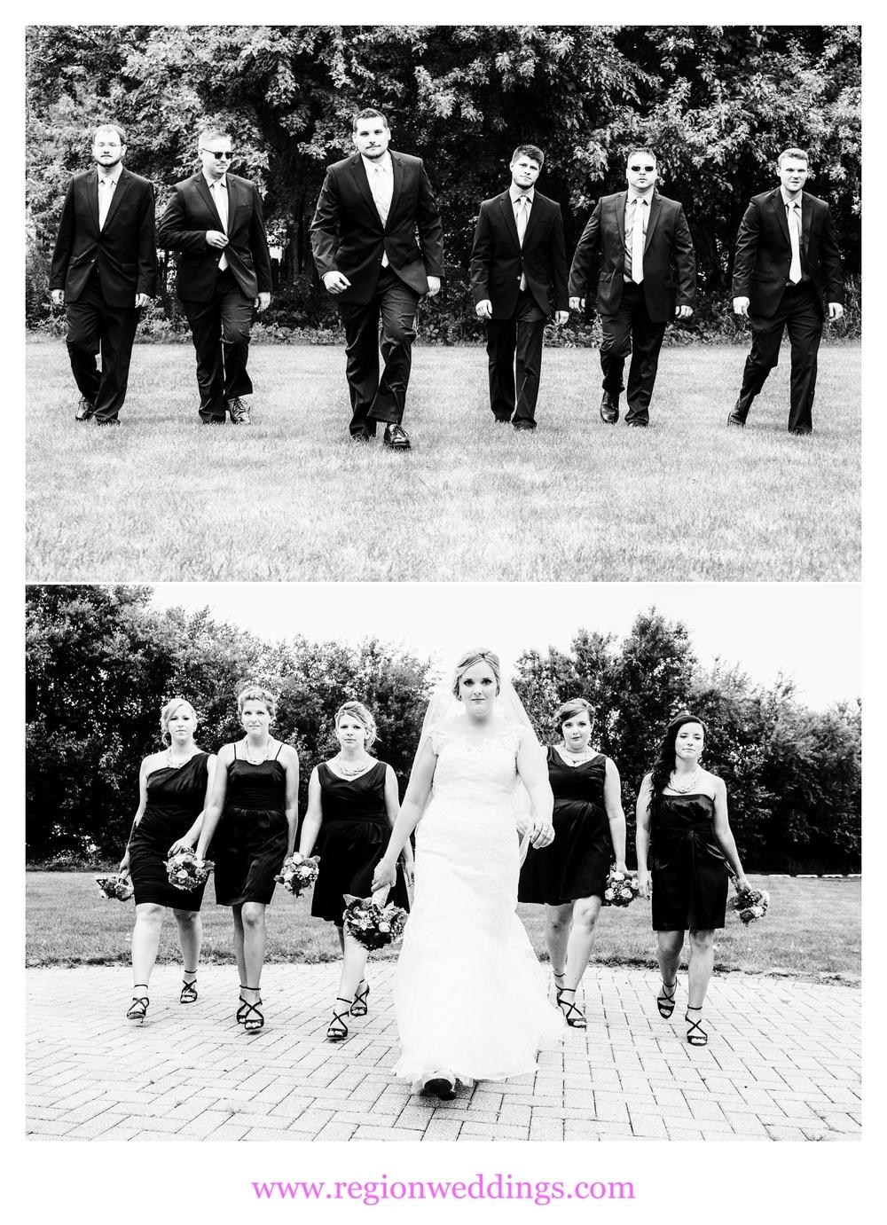 The wedding party fast walks toward the camera.