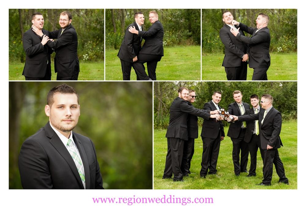 Groomsmen having fun on wedding day.