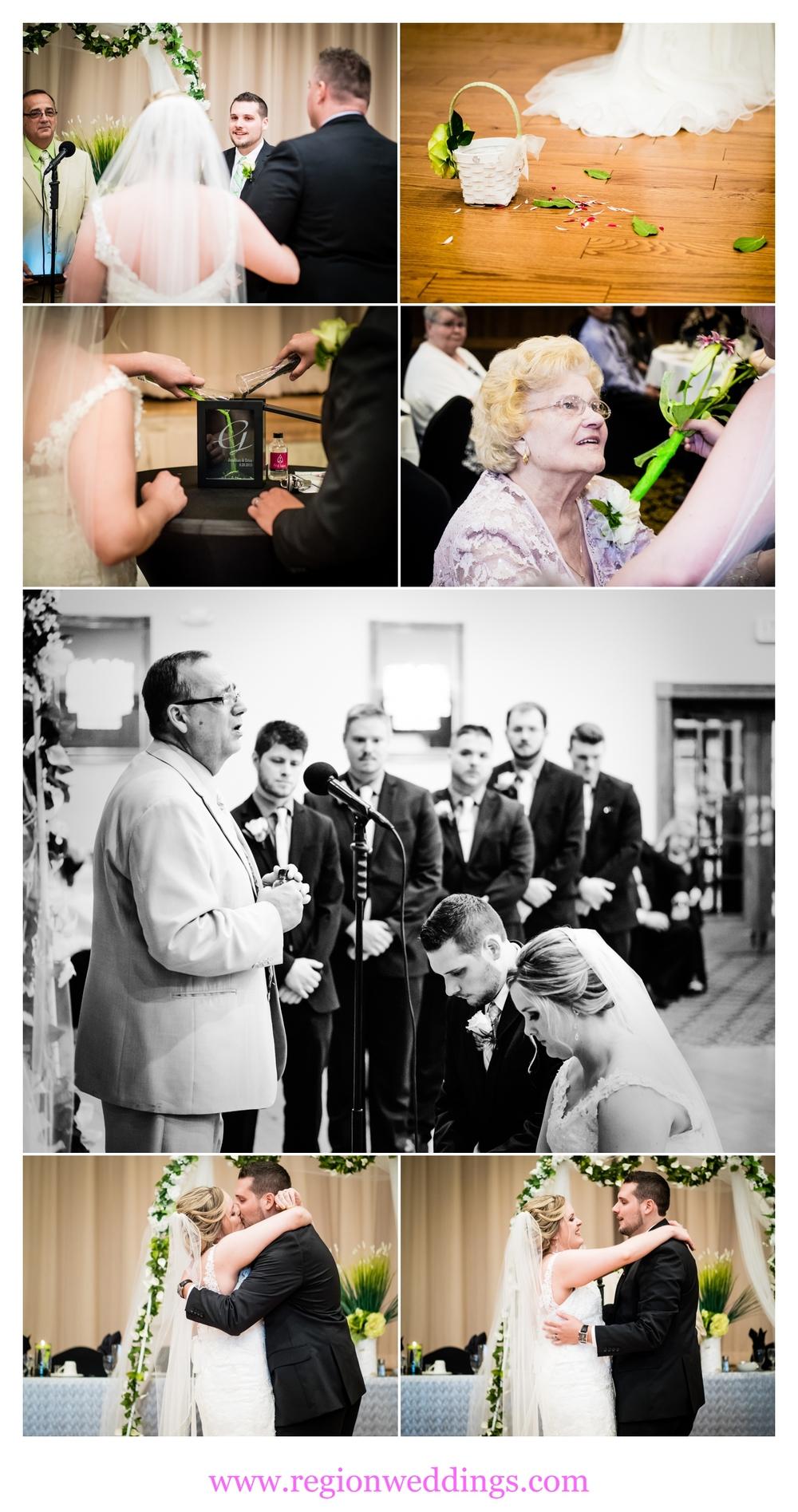 Wedding ceremony inside of Croatian Hall.