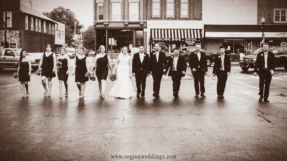Wedding party on Main Street in Crown Point, Indiana.