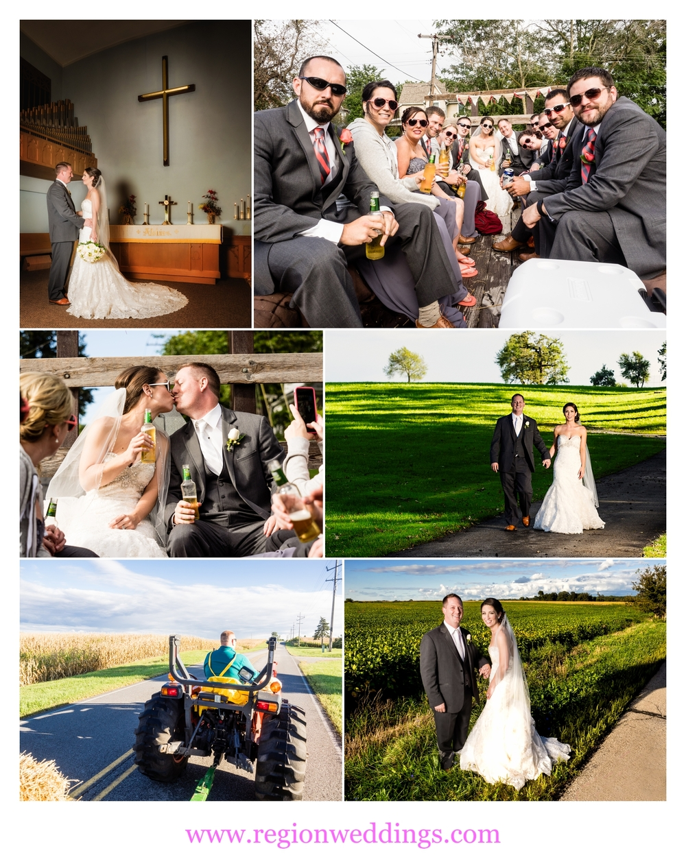 Wedding photos along the rural roads of Lowell, Indiana.