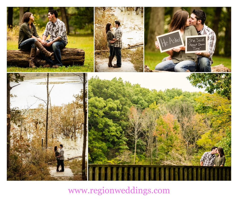Engagement photos in the woods of Lemon Lake Park.