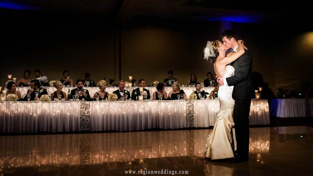 First Dance for the bride and groom at Villa Cesare in Schererville, Indiana.