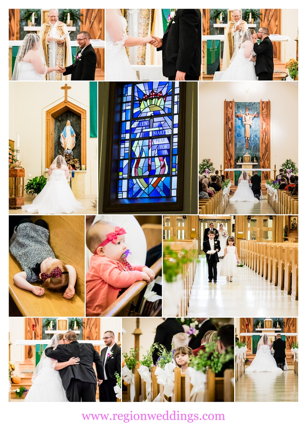 Wedding ceremony at St. Mary's Catholic Church in Griffith, Indiana.