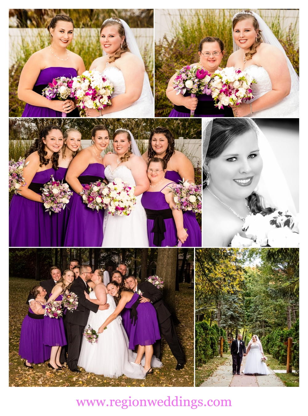 Fall wedding party photos.