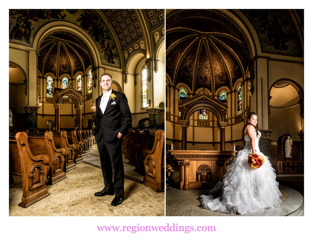 Bride and groom at St. Josaphat Church in Chicago.