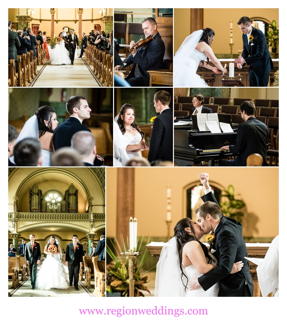 Wedding ceremony photos from St. Josaphat Church in Chicago.