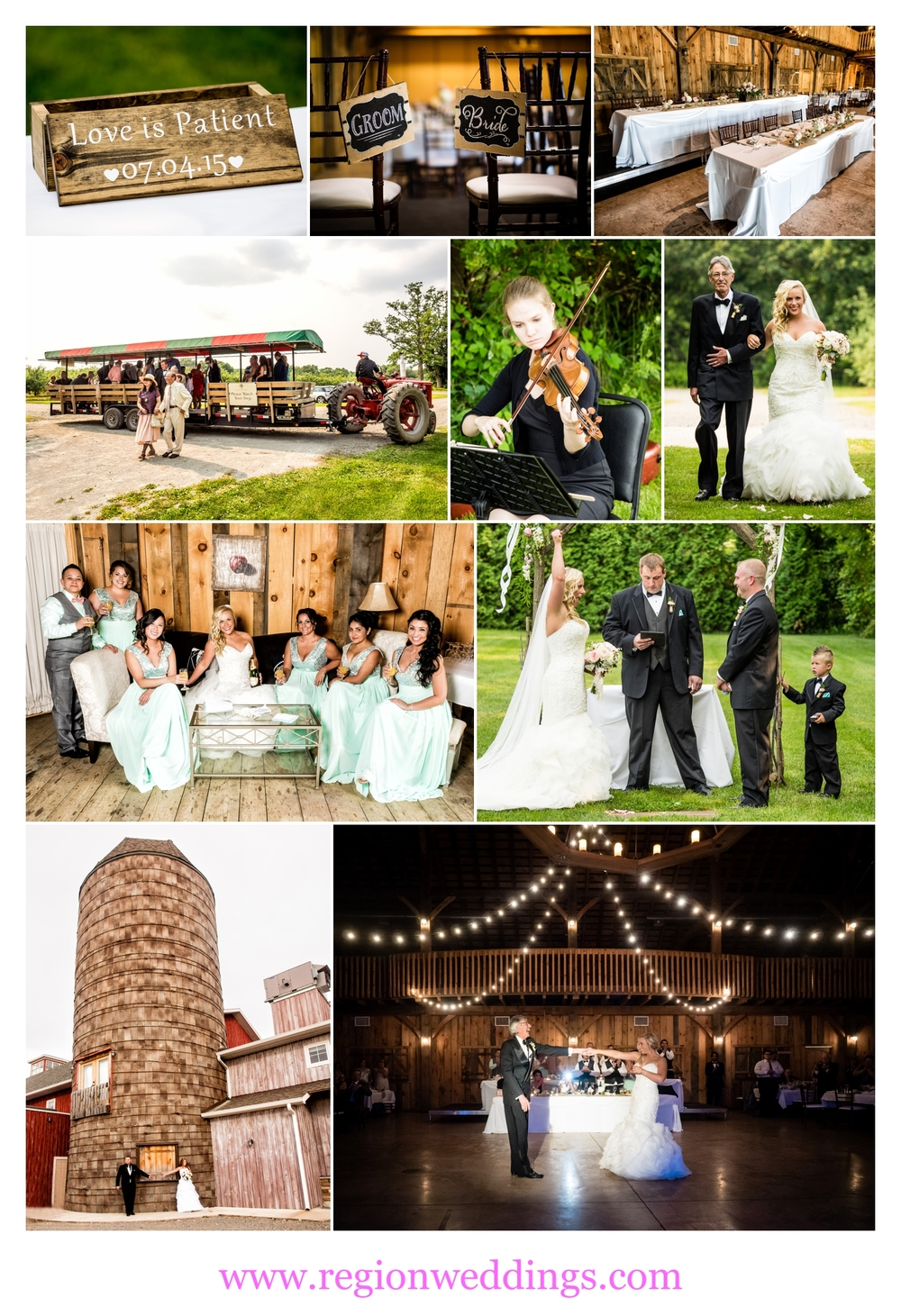 Rustic weddings at County Line Orchard in Hobart, Indiana.