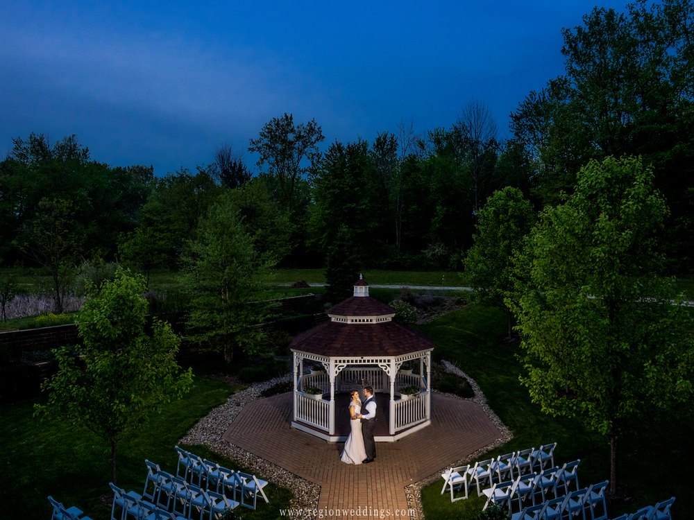 The Trinity Hall gazebo at twilight in Chesterton, Indiana.