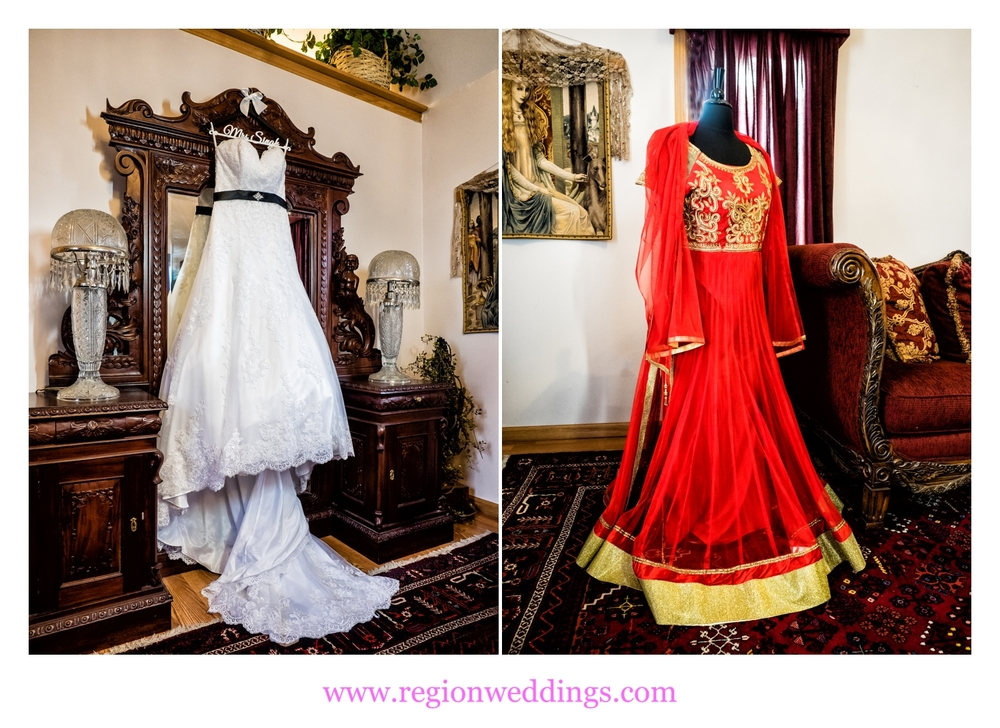 American and Indian wedding dresses.