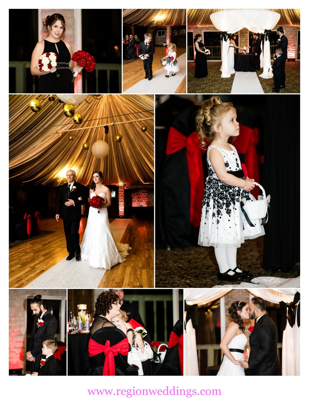 An indoor wedding ceremony at Meyer's Castle.