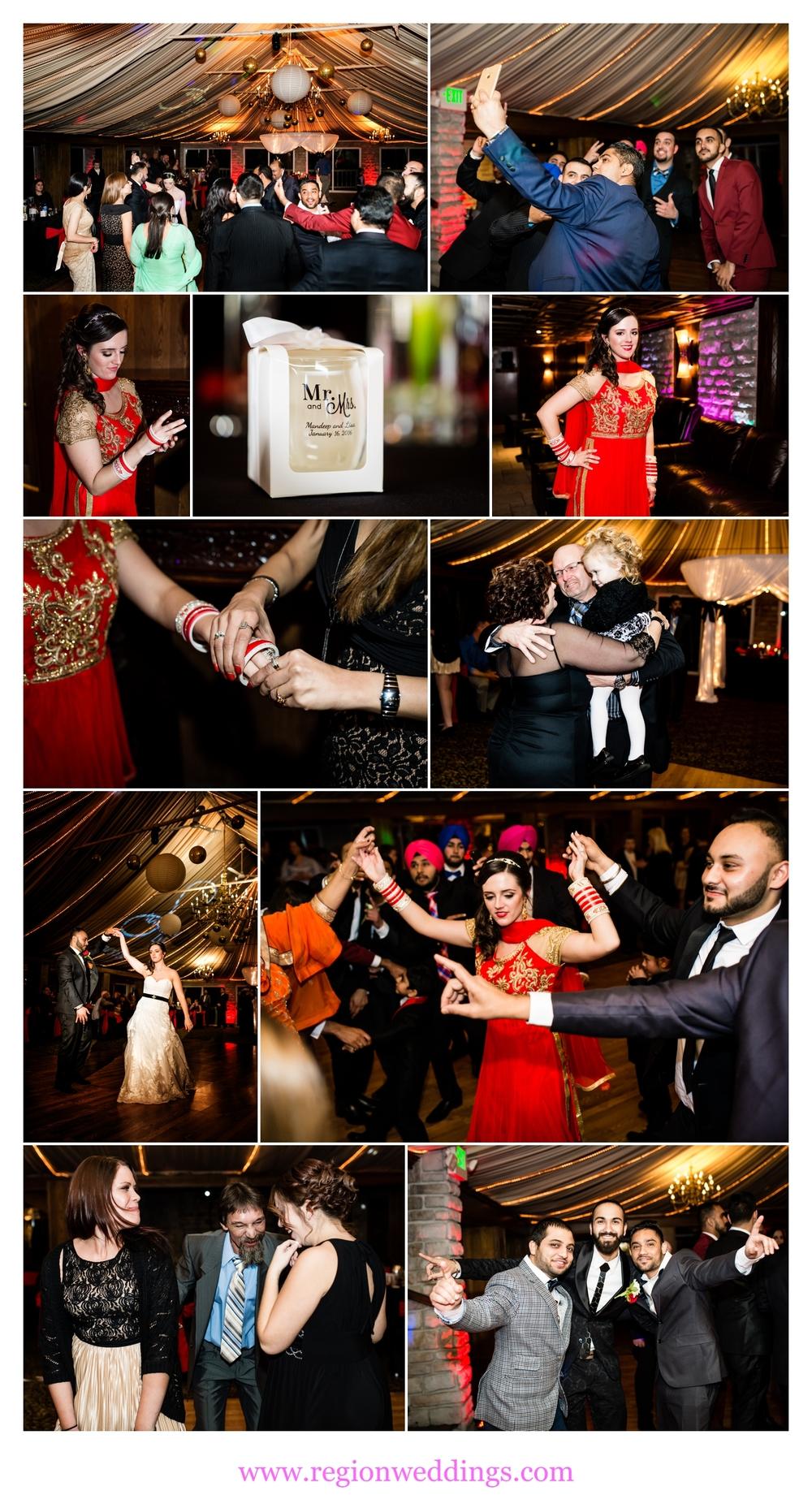 Reception photos of an Indian-American wedding.