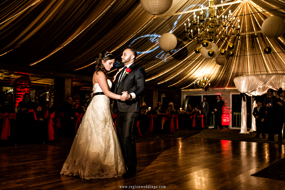 First dance for the bride and groom at Meyer's Castle in Dyer, Indiana.