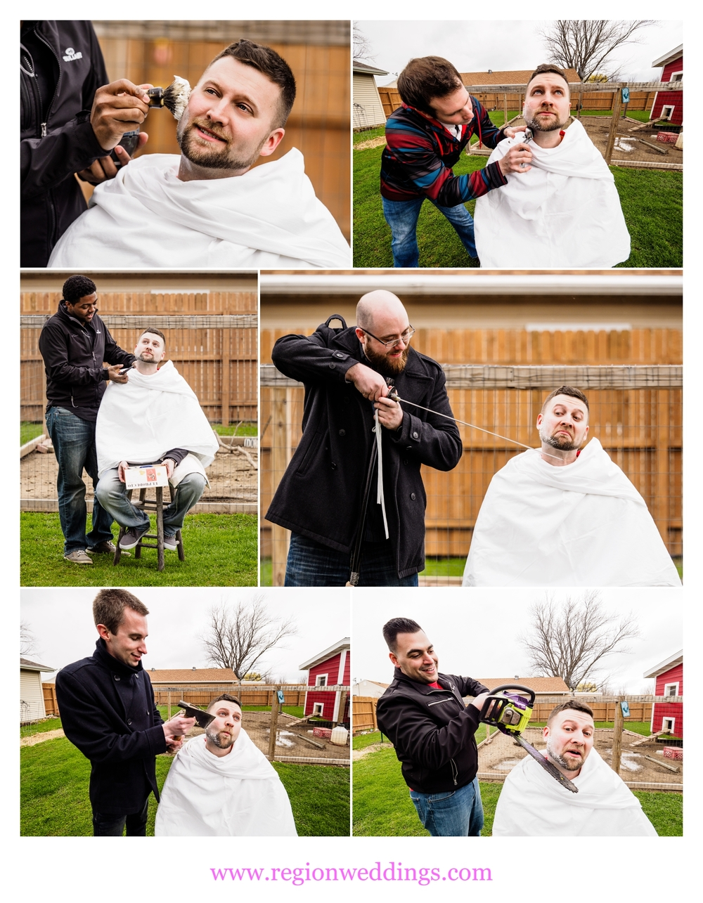 "The groom undergoes the traditional Macedonian ""shaving of the groom"" ritual."