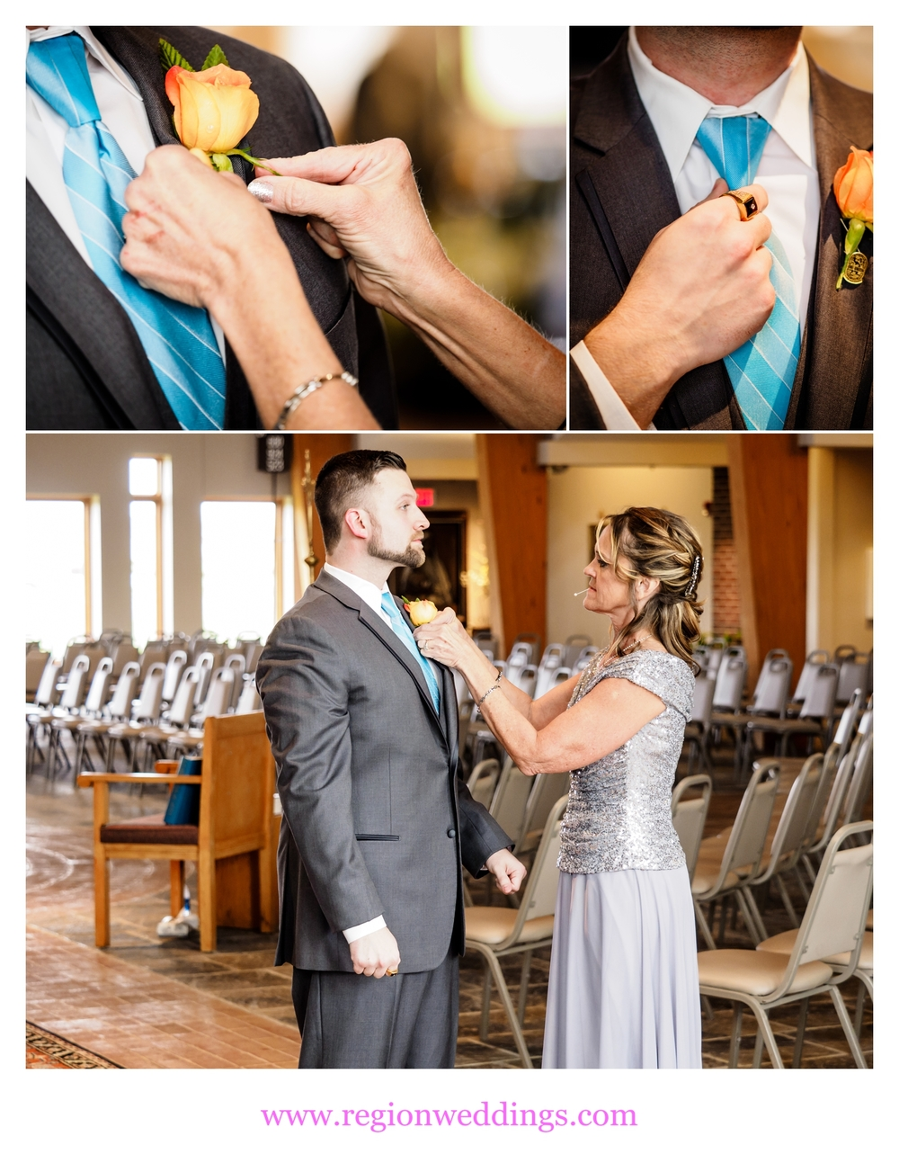The mother of the groom secures the boutonniere.