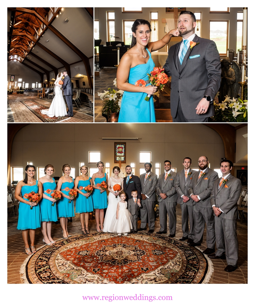 wedding at holy spirit catholic church in crown point