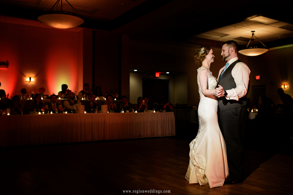First dance for the bride and groom at Signature Banquets in Lowell, Indiana.