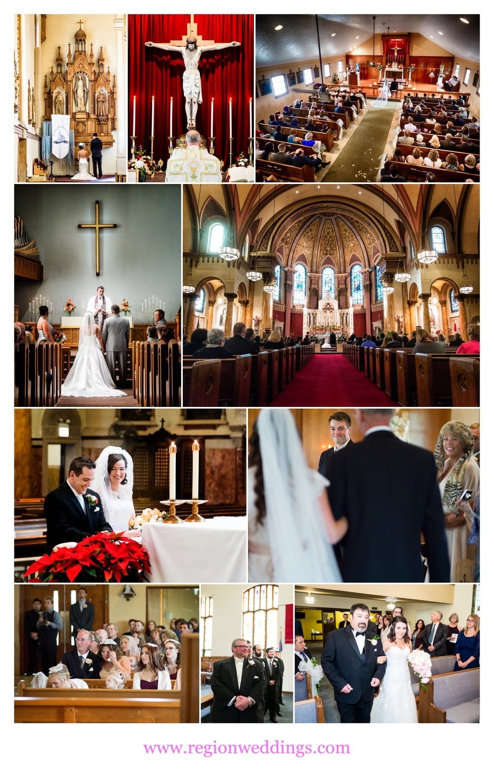 Church wedding ceremonies in Northwest Indiana, Chicago and Michigan.
