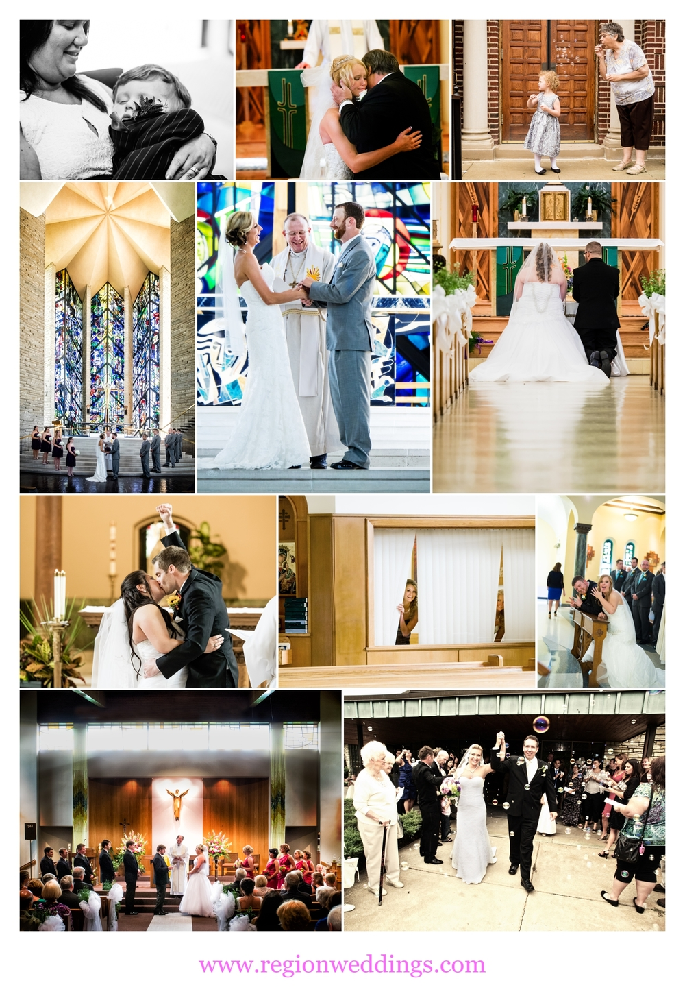 Wonderful moments at various church weddings.