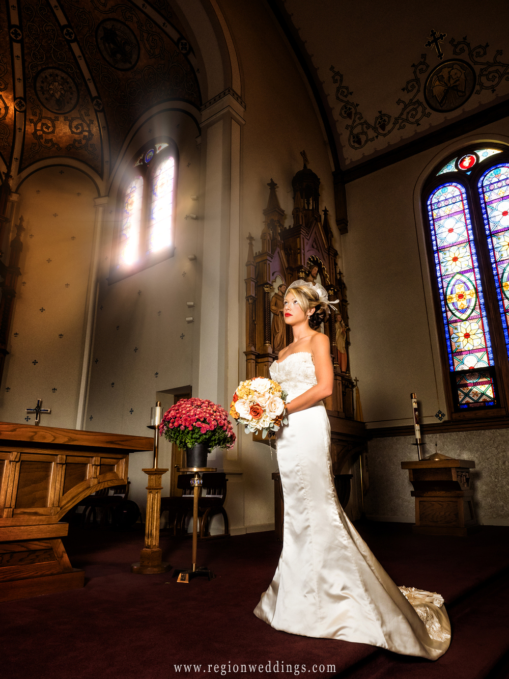The bride on the altar at St. Mary's Church in Crown Point.