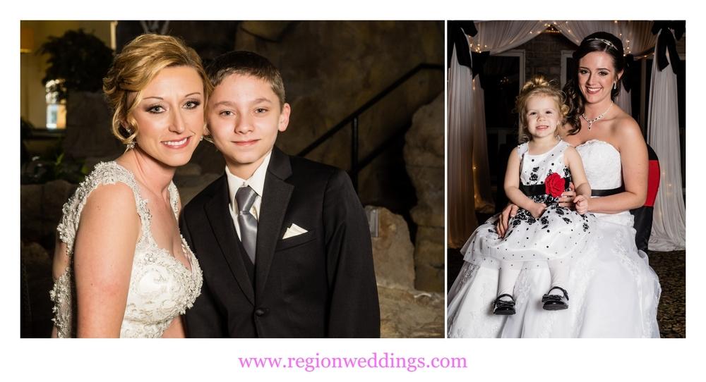 Brides with their children on wedding day.