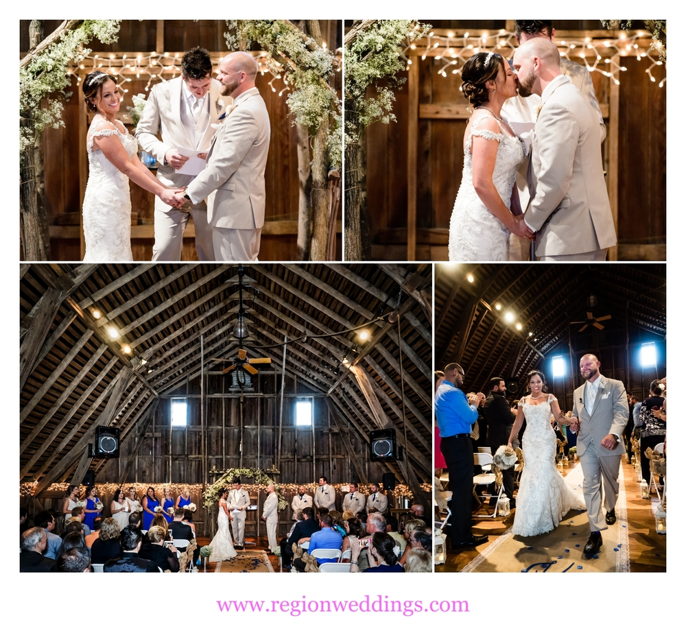 Barn wedding ceremony at County Line Orchard.