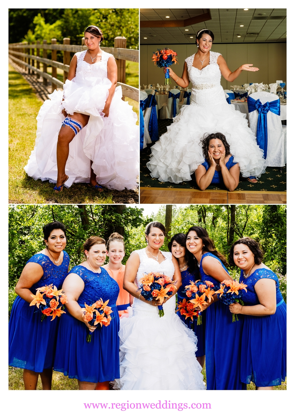 Bridesmaids in lovely blue dresses pose with the bride.