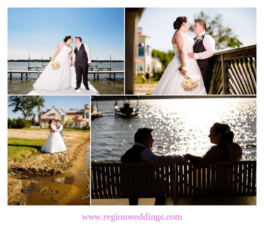 Romantic wedding photos along Cedar Lake near Lighthouse Restaurant.