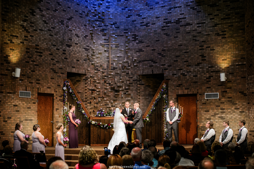 Wedding ceremony at First Christian Church.