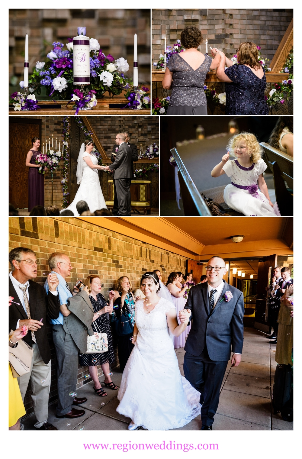 Wedding ceremony at First Christian Church in Crown Point, IN.