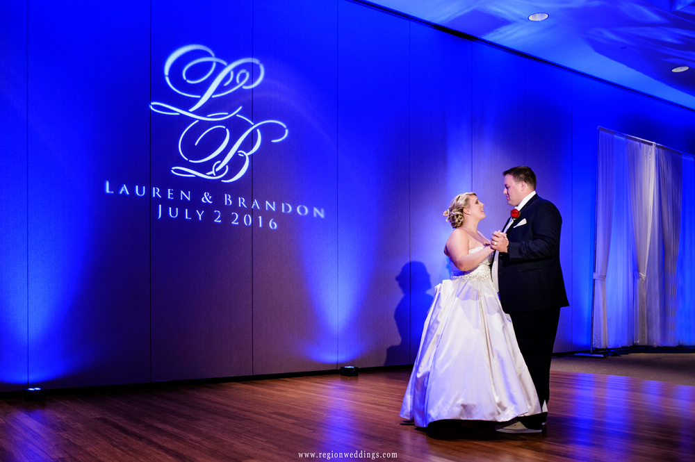 Bride and groom during their first dance at Halls of St. George.