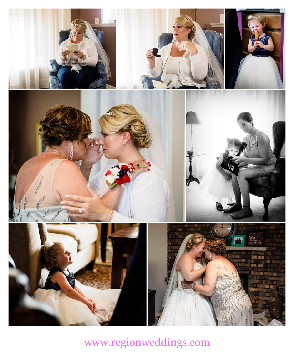 Many emotional moments unfold as the bride gets ready on wedding day.