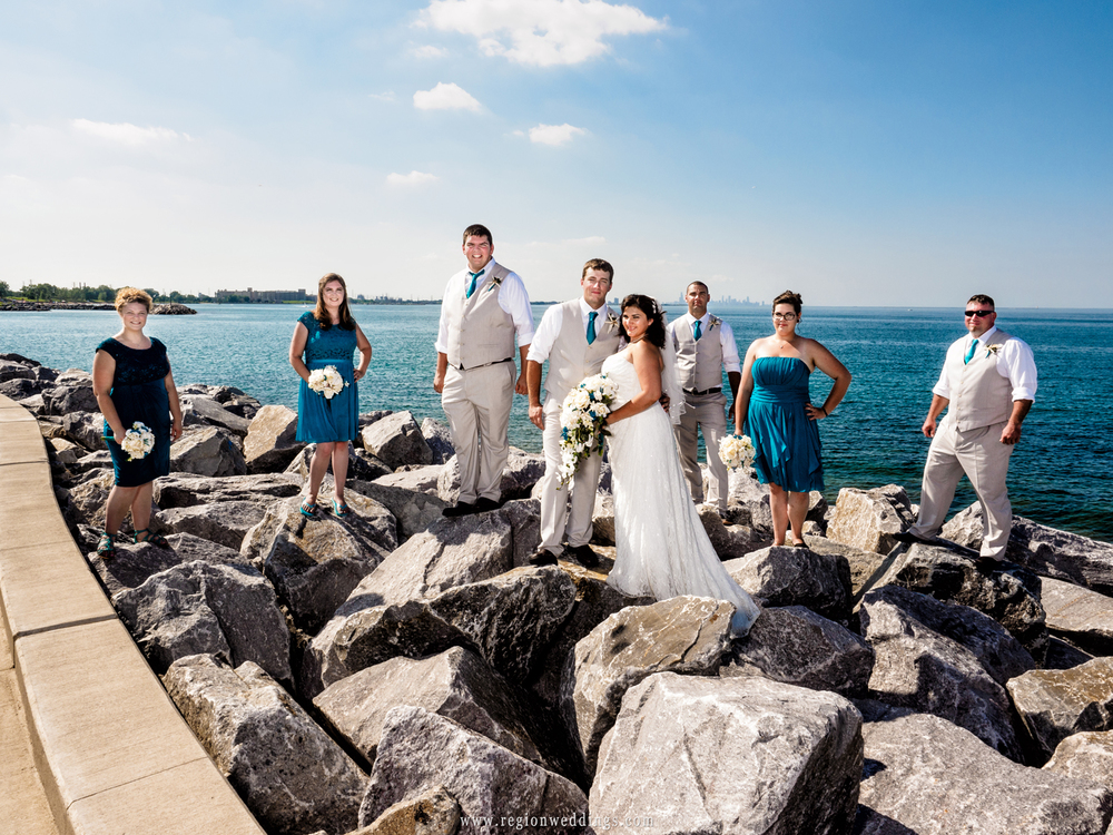 Wedding party on the shores of Lake Michigan with skyline of Chicago in the background.