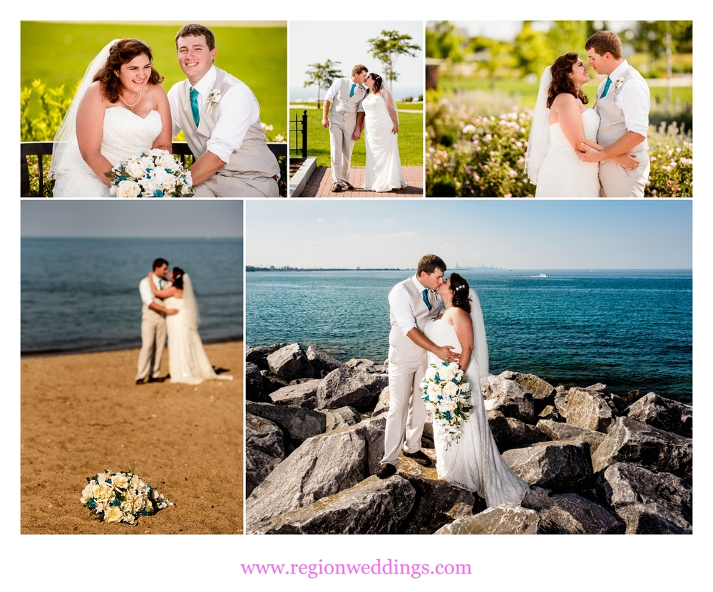 Wedding photos of the bride and groom on the shore of Lake Michigan.