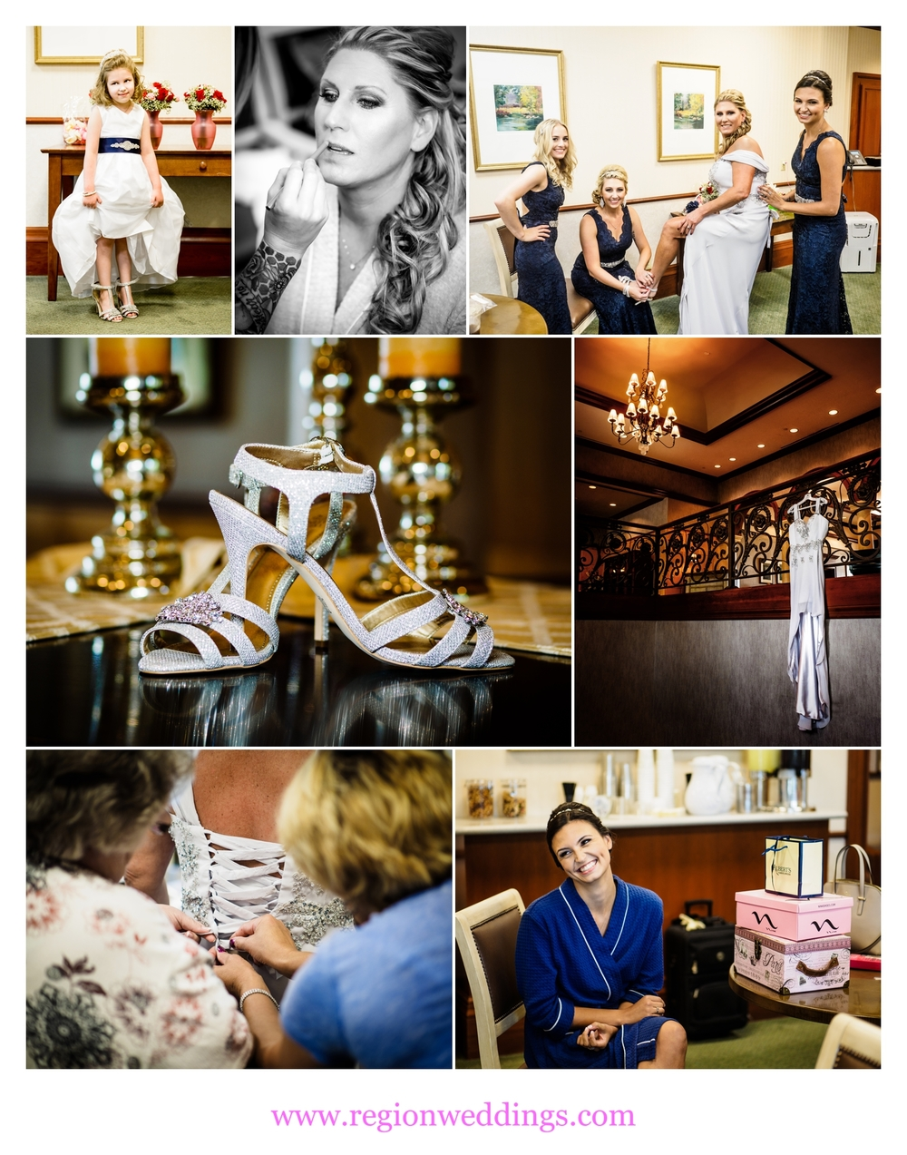 Bridal prep and wedding details at Sand Creek Golf Course in Chesterton, Indiana.