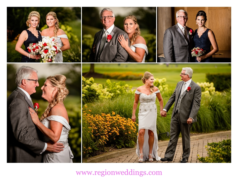 Wedding photos in the clock tower garden of Sand Creek Country Club.